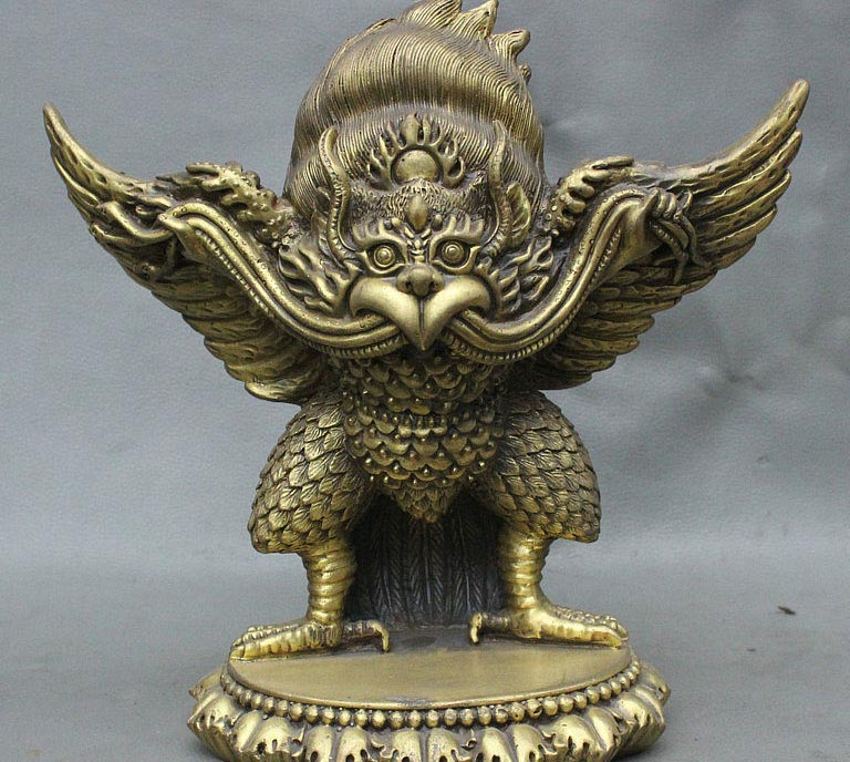 9 Tibet Buddhism Pure Bronze Fly Redpoll Winged Garuda Bird Eagle Buddha Statue 9 Tibet Buddhism Pure Bronze Fly Redpoll Winged Garuda Bird Eagle Buddha Statue