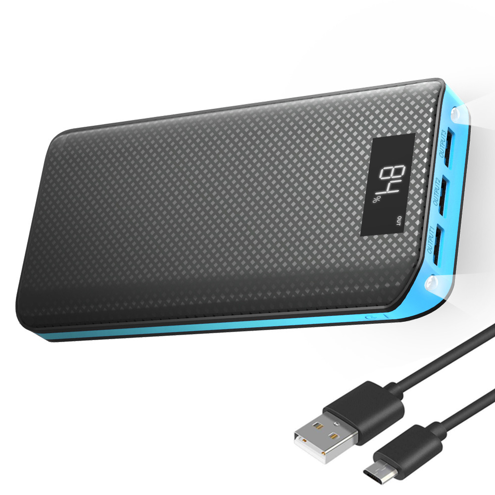 20000 мАч Мощность банк Портативный внешний Батарея Зарядное устройство пакет с ЖК-дисплей Дисплей, 3 USB Выход для iPhone Samsung Galaxy Xiaomi