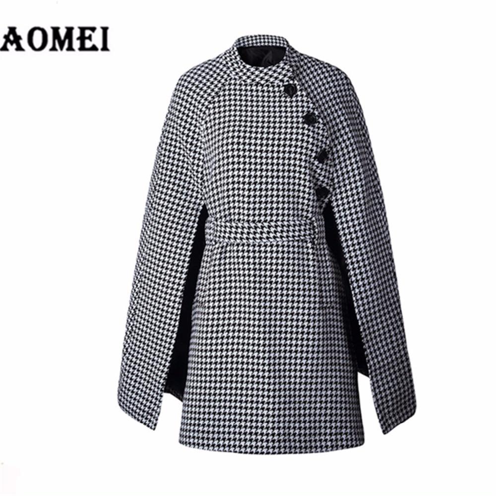 Cape Nouveau Pardessus Manteau Outwear Bouton Dame Travail De Femmes Ceinture Manteaux Mode Vêtements Avec Laine Printemps Plaid Bureau Hiver Black 2019 OSHUUXqa