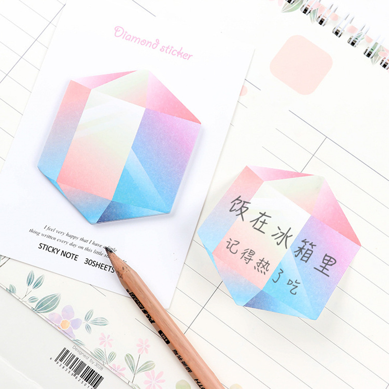 6 pcs Diamond sticky note Rainbow color memo pad Message notes marker it planner post pad Stationery School supplies F149