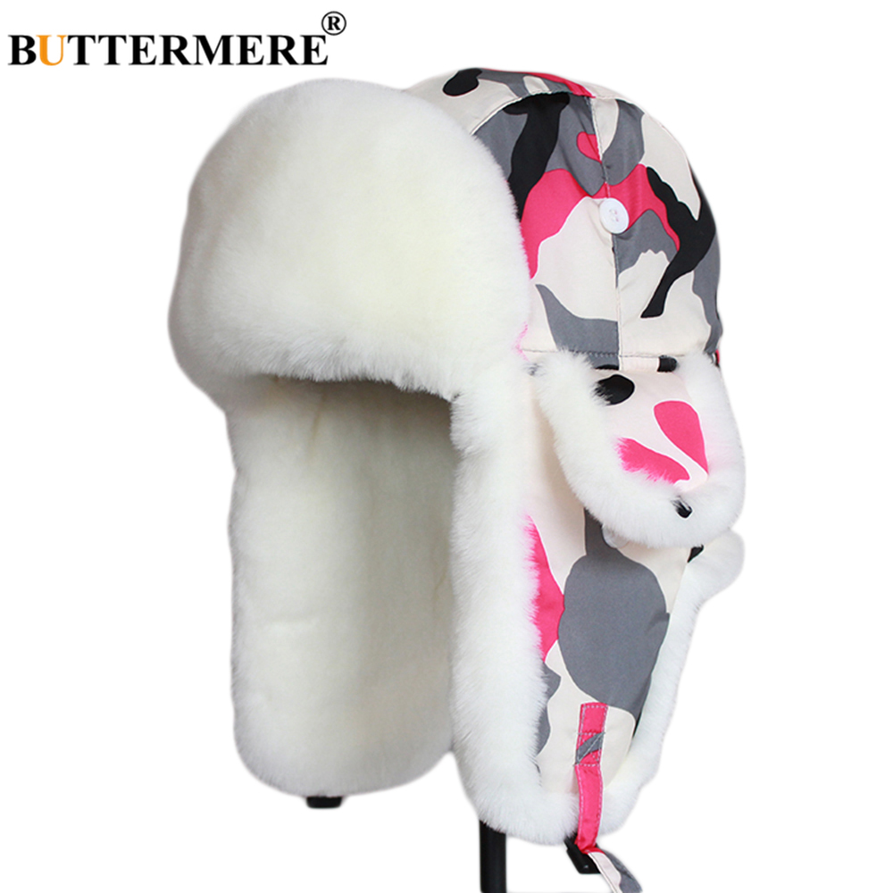 BUTTERMERE Women Hats with Ears Winter Camouflage Bomber Hat Female Red Print Russian Ushanka Windproof Ladies Outdoor Fur Caps