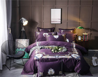 4/6 Pcs Purple Egyptian cotton Bedding Set Queen King Size royal Bed Set Embroidery Duvet Cover Bed Sheet Bed Linen