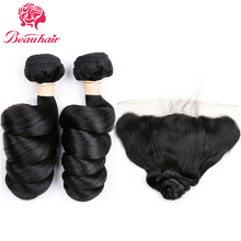 Beauhair Peruvian Loose Wave 2 Bundles With Lace Frontal 13×4 Ear To Ear Free Part Human Hair Extensions Natural Color