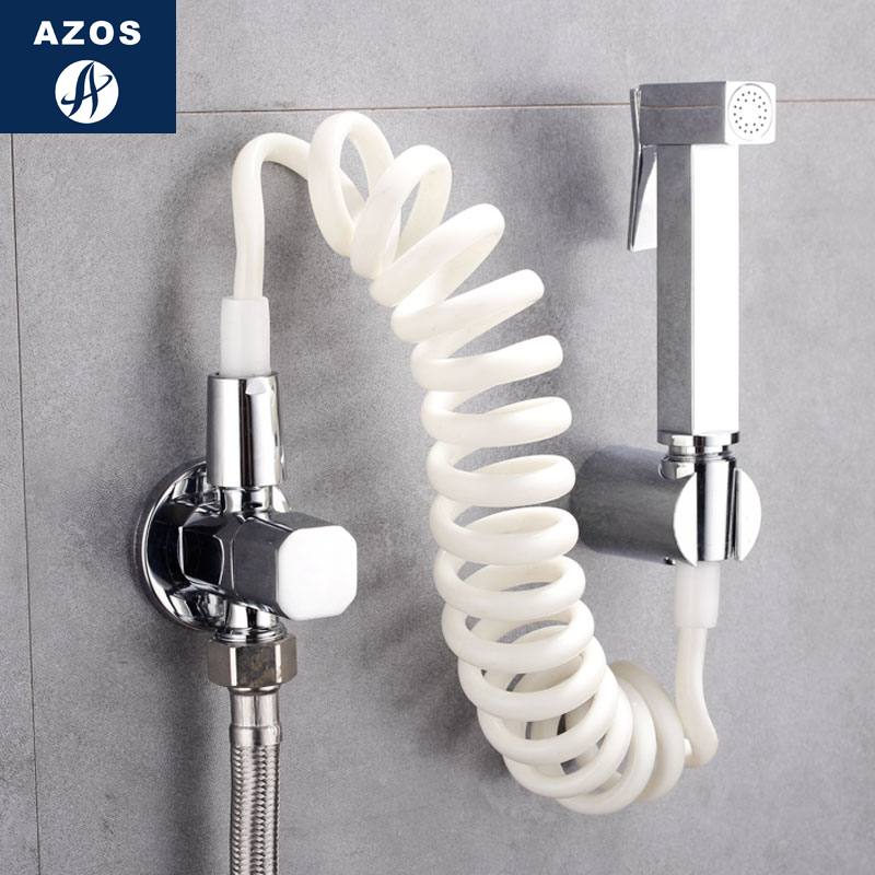 Azos Bidet Faucet Pressurized Sprinkler Head Brass Chrome Cold Water Two Function Washing Machine Pet Bath Toilet Round PJPQ031A