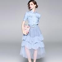 Хлопковые джинсы сетки Лоскутная линия платье 2018 новое для подиума Женская летняя обувь платья высокое качество офис леди праздничное плат