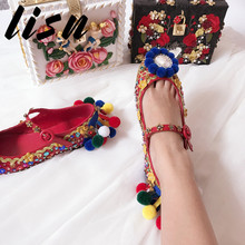 LISN New Genuine Leather Buckle Strap Women Low Heel Shoes Round Toe Glitter Floral Wedding Party