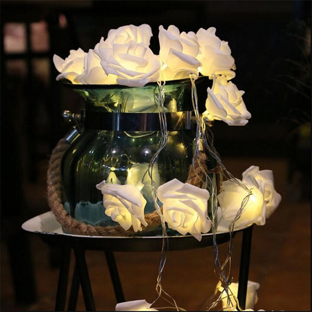 7 5m 50 Led Battery Operated Novelty Rose Flower Fairy String Lights Fashion Holiday Lighting Wedding Party Christmas Decoration