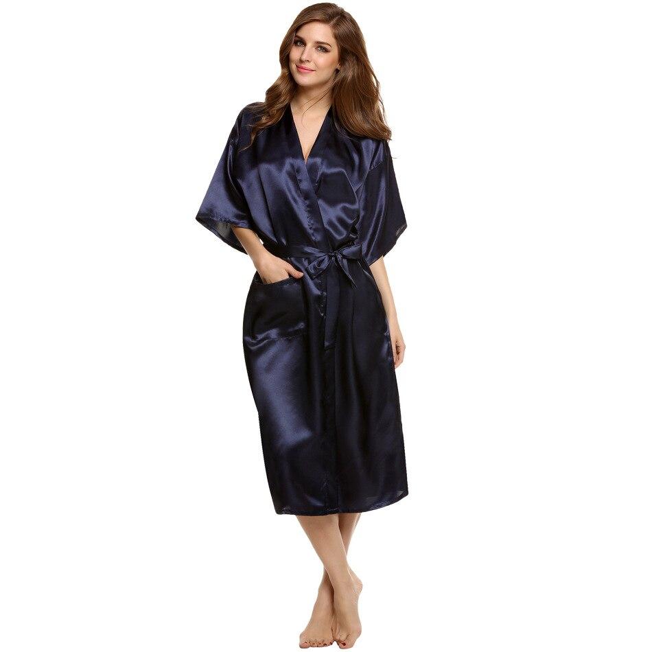 Sexy Dessous Satin lange Nacht Kleid Elegante Unisex herren damen ...