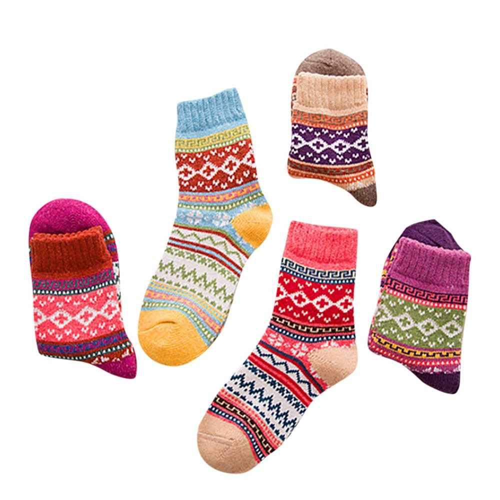 Çorap kadın kış bayan Vintage kış yumuşak sıcak kalın soğuk örgü yün mürettebat çorap geometri baskı rahat Mujer Invierno 10