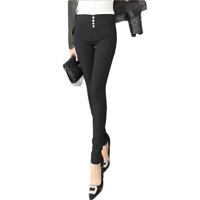 Plus Size Leggings Slim Fitness Women Hip Push Up High Waist Leggings Pants Buttons Pencil Pants calzas leggins  BG306