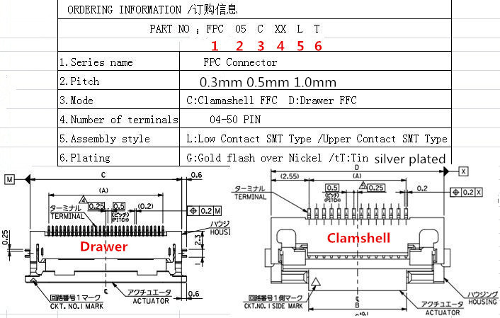 0.50mm (.020) Pitch FFC/FPC Connector, Right Angle, Drawer type SMT, ZIF, Bottom Contact Style, 40 Circuits,silver plated