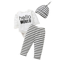 Fashion Newborn Outfits Clothes Infant Baby Long Sleeve Striped Letter Printed Lace + Pants + Hat Set Cotton Jumpsuit 2020#LR2(China)