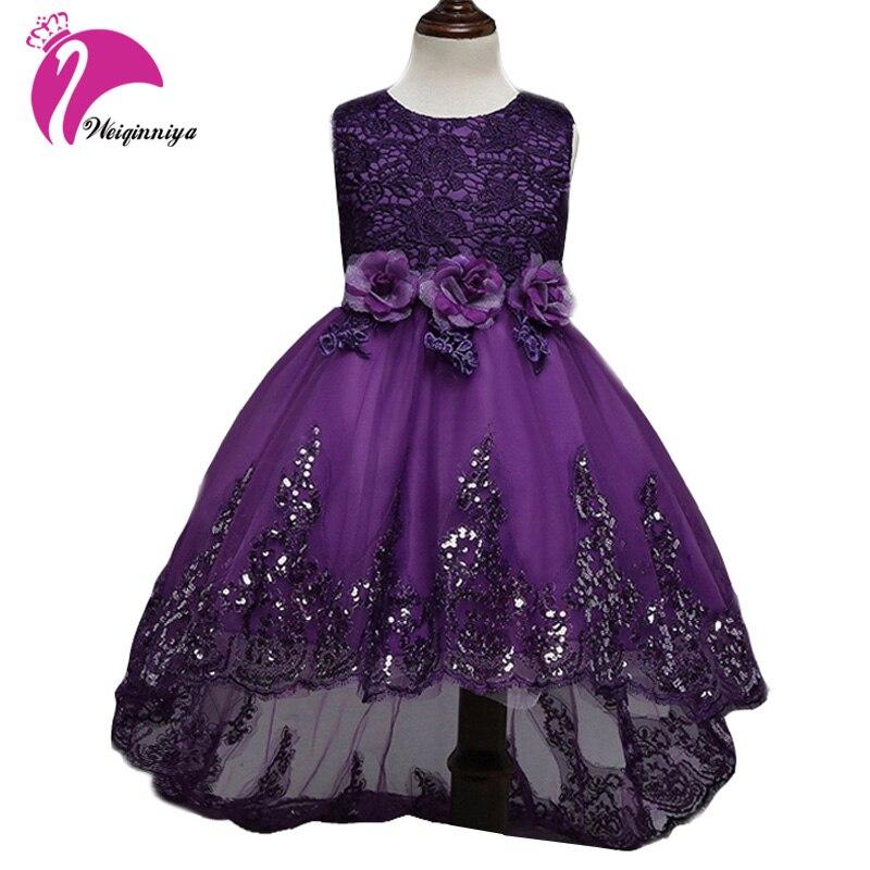 Enfants robes pour filles nouveau 2018 été marque de mode arc Floral enfants robes de fête de mariage paillettes princesse Vestido enfants vêtements