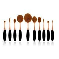 Hot 2016 10pcs Makeup Brushes Toothbrush Oval Brush Professional Foundation Powder Kit Makeup Brush Set Toothbrush