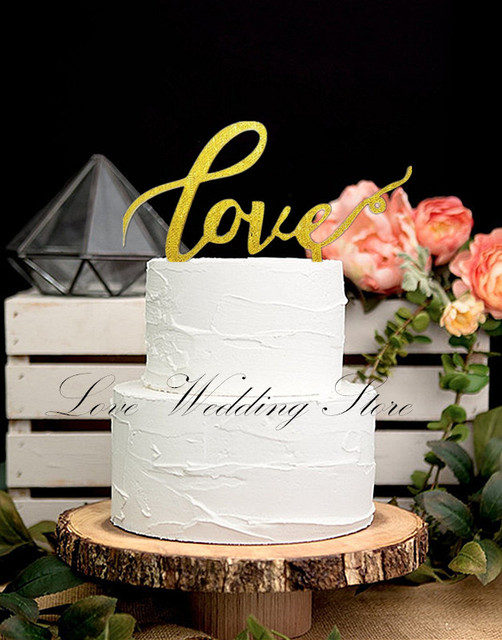 2016 New Design Acrylic Gold Love Cake Topper Wedding Cake Topper ...