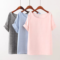 Plus Size 4XL Solid Color Plaid Women T Shirt 2017 Fashion Summer T Shirt Drop Shoulder