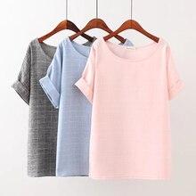 Плюс размер 4XL Сплошной цвет Плед женщин Футболка 2017 мода лето футболка падение плеча рукав О Шеи дамы футболку femme