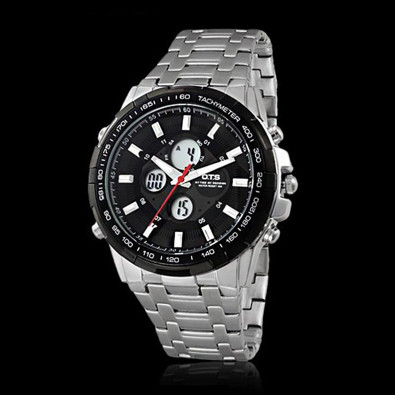 OTS Fashion Luxury Brand Men Waterproof Military Sports Watches Men's Quartz Digital Metal Strap Wrist Watch Relogio Masculino
