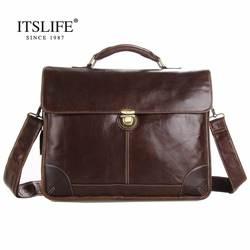 Бесплатная доставка; Лидер продаж; 100% натуральная кожа Мужская Портфолио Деловая сумка портфель для ноутбука сумка # 7091Q