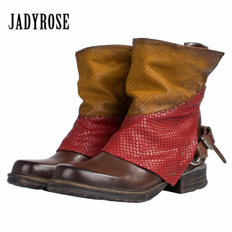 Jady Rose Mixed Color Women Autumn Winter Martin Boots Low Heel Short Ankle Boots Genuine Leather Rubber Platform Shoes Woman