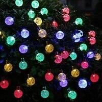 New Solar Outdoor String Light 20ft 30 LED White Crystal Ball Solar Powered Globe Fairy Lights