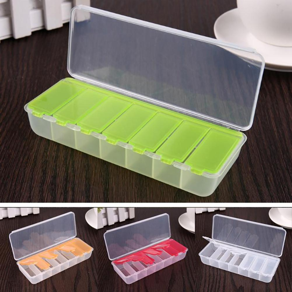 Portable 7 Compartments Travel Pill Box Medicine Drug Storage Container Case