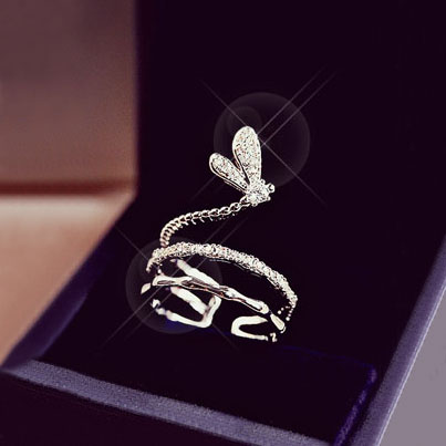 Trendy Romantic Multilayer Butterfly Ring Simple Hyperbole Cubic Zirconia Stone Pave Setting Decorate Open Ring Feminino Jewerly