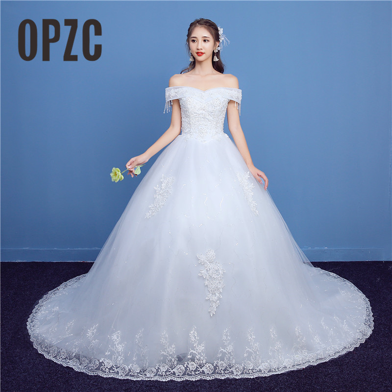 Simple Wedding Dresses Boat Neck: Luxury Lace Long Train Wedding Dress 2018 New Fashion