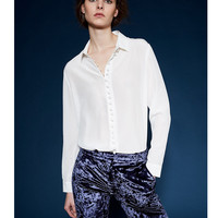 100 Silk Chiffon Blouse Shirt Women High Quality Long Sleeve White And Beige Color Oversized Plus