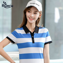 Ruoru Summer Striped Polo Shirt Women New Casual Short Sleeve Slim Polos Mujer Shirts Tops Plus Size Female Cotton