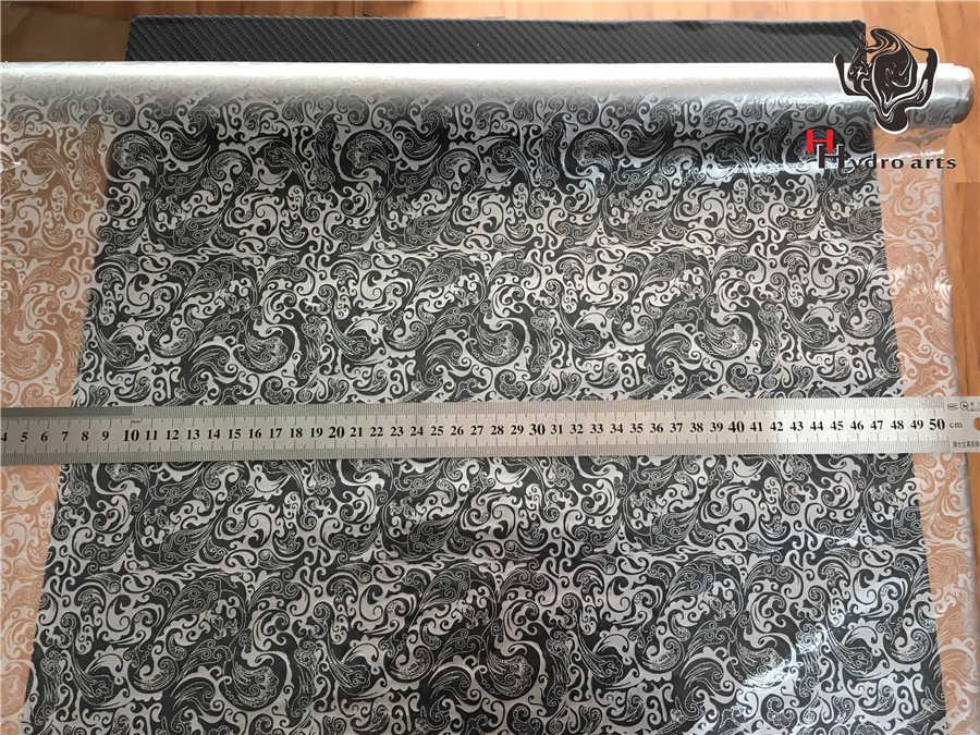 HTM-10514 무료 배송 실버 꽃 인쇄 물 전송 인쇄 필름 아쿠아 인쇄 필름 오토바이/자동차 수문 필름