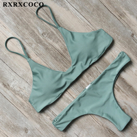 RXRXCOCO Solid Swimwear Women Sexy Bikini Set 2017 Push Up Bikini Padded Swimsuit Female Halter Bandage