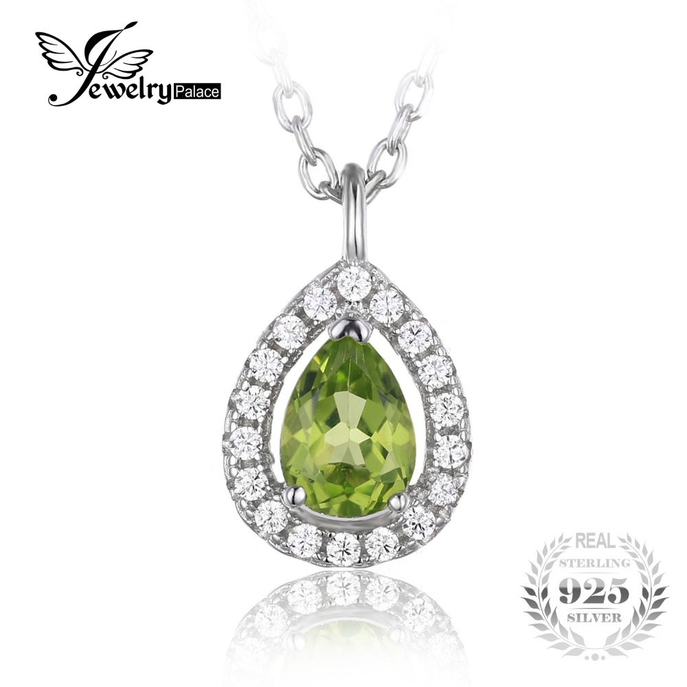 JewelryPalace Pear 0 8ct Natural Peridot 925 Sterling Silver Solitaire Pendant Necklace 18 Inches Women Accessories