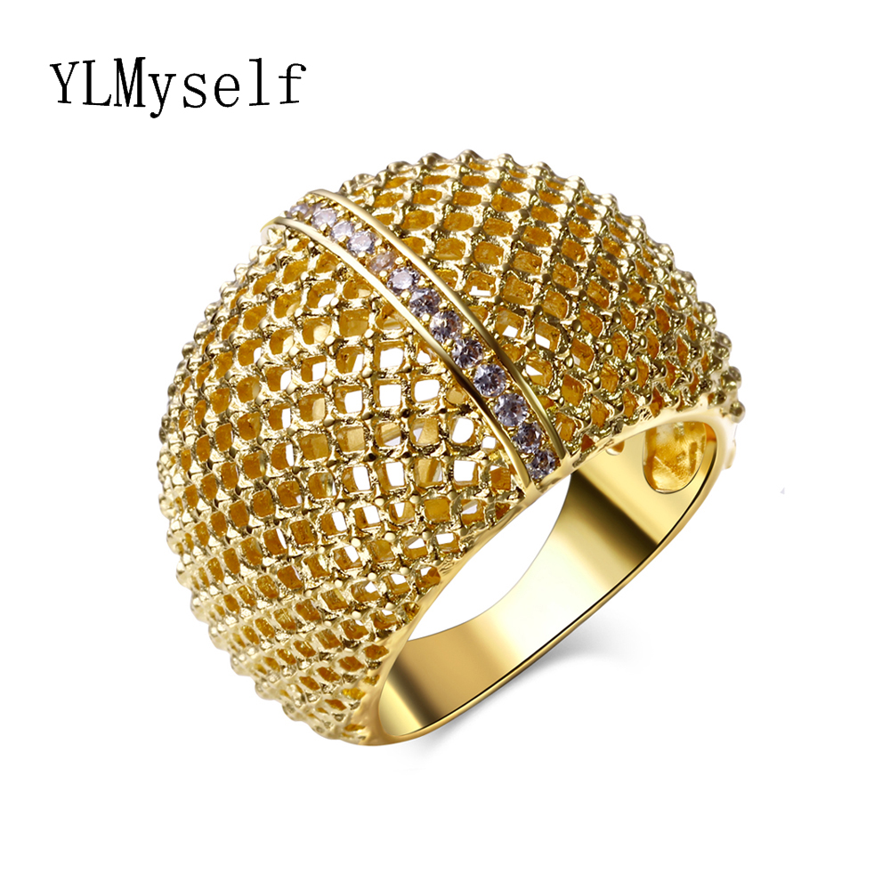 The New Popular Jewelry! Hollow Design Gold and White Color fashion zirconia China Wholesale accessories Trendy Rings for women