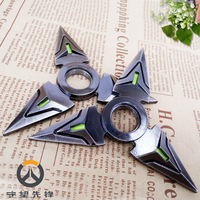 High Quality OW Watch Over Genji Hand Spinner Metal Weapon Darts Shuriken Gamer Fans Cosplay Accessory