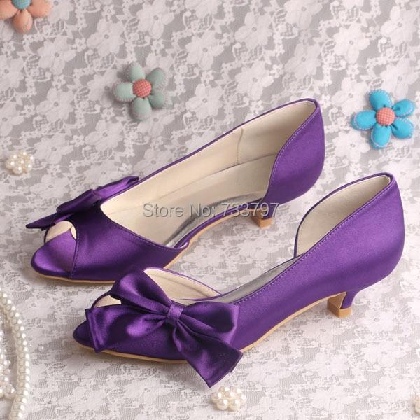 (20 Colors)Custom Purple Pumps Low Heeled Wedding Party Shoes Peep Toe Big Bows