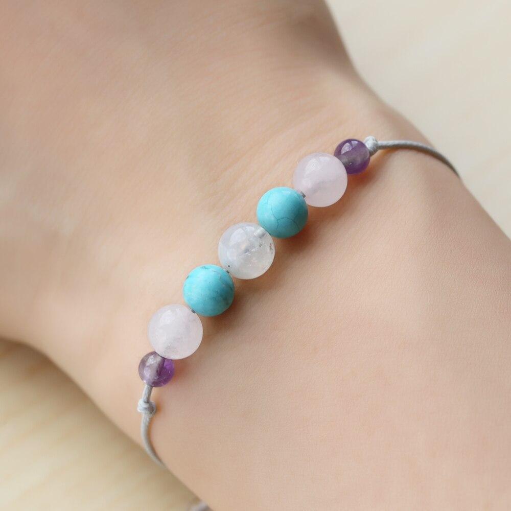 TL Bleu Naturel Pierre Bracelet Corde et Accessoires En Acier Inoxydable Bracelet D'amitié Charme Bracelet Pour Les Femmes