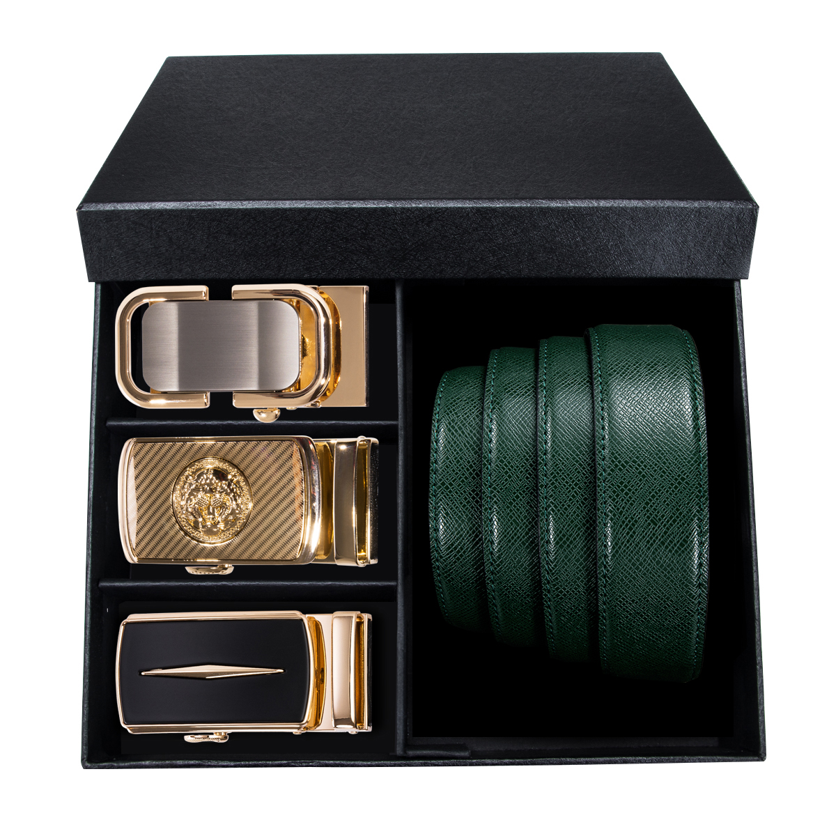PT-0010 Barry.Wang Automatic Buckle Genuine Leather Luxury Green Belt For Men 110-130cm Long Alloy Buckle Men Belt Gift Box Sets