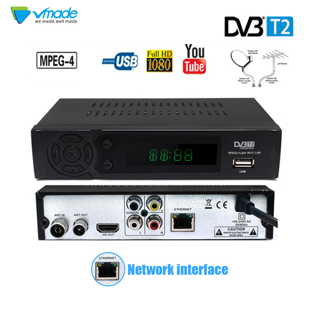 Hot Sale DVB-T2 Terrestrial Digital Satellite TV Signal Receiver Decoder TV Box Support Lan RJ45 Youtube Biss FTA PVR Dvb-T Set