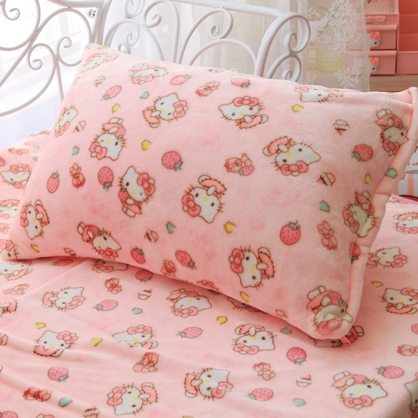 1pc soft cartoon My Melody hello kitty lovely pillow case cover plush flannel blanket bed sheet lady romantic gift baby girl toy
