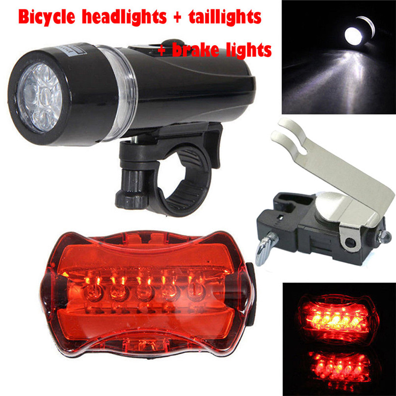 Rear Safety Light Set Waterproof 5 LED Lamp Bike Bicycle Flashlight Front Torch