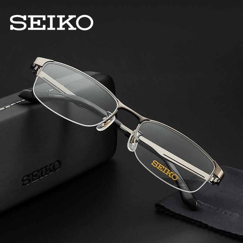 SEIKO Titanium Glass Frames Optical Spectacles Browline Eyeglasses for Myopia Prescription Strength Reading Glasses H01122