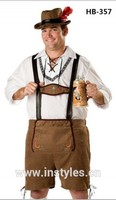 FREE SHIPPING instyles Mens Lederhosen Oktoberfest Octoberfest Bavarian German Beer Costume size S 2XL