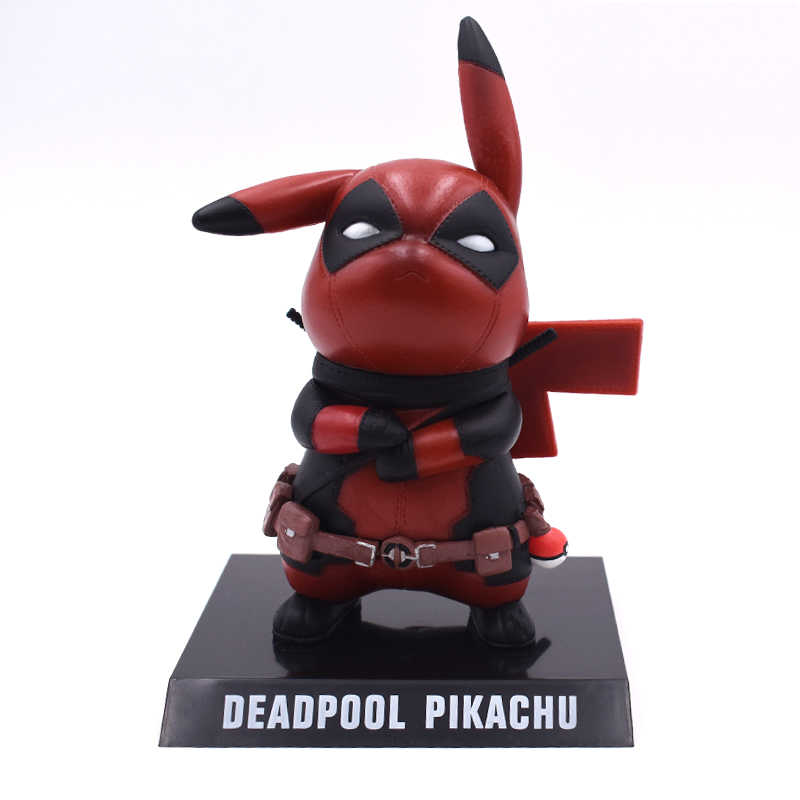 Genuine Pikachu Cosplay Deadpool Deadpool Action Figure Collectible Modelo Toy 15 cm Pikachu Brinquedos de Super-heróis Frete Grátis