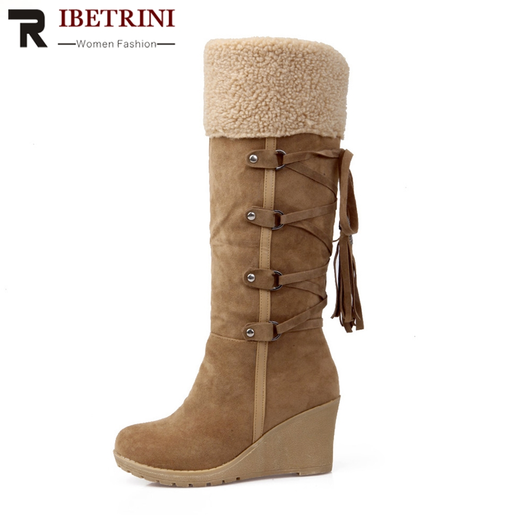 RIBETRINI Women Knee Boots Warm Winter Fur Shoes Woman High Heel Wedge Round Toe Platform Slip On Snow Boots Large Size 34-43 doratasia big size 34 43 women half knee high boots vintage flat heels warm winter fur shoes round toe platform snow boots