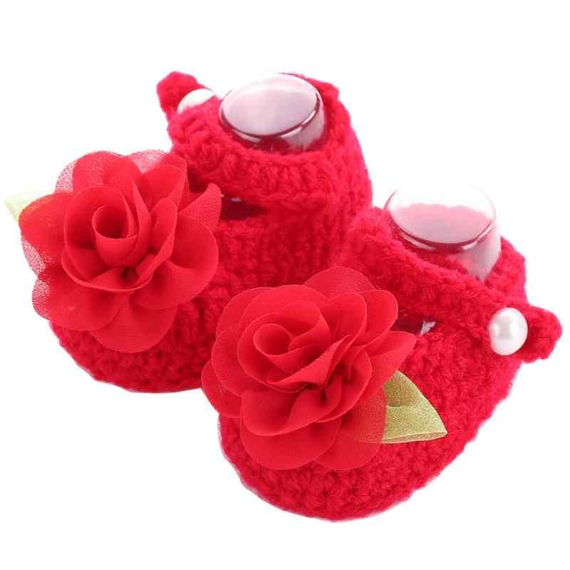 Çocuk Yeni Butik çiçekler tığ işi bebek ayakkabı kızlar, Yürümeye Başlayan Yay Düz Renk bebek kışlık ayakkabılar, bebek Yeni doğan Beşik Bebek yumuşak ayakkabı