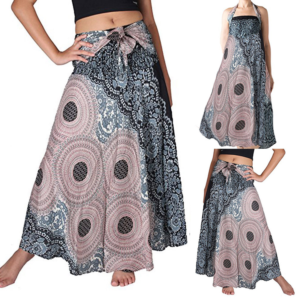 Womail Women Skirt Summer Fashion Long Hippie Bohemian Gypsy Boho Flowers Elastic Floral Hlater Skirt Casual 2019 Dropship F9
