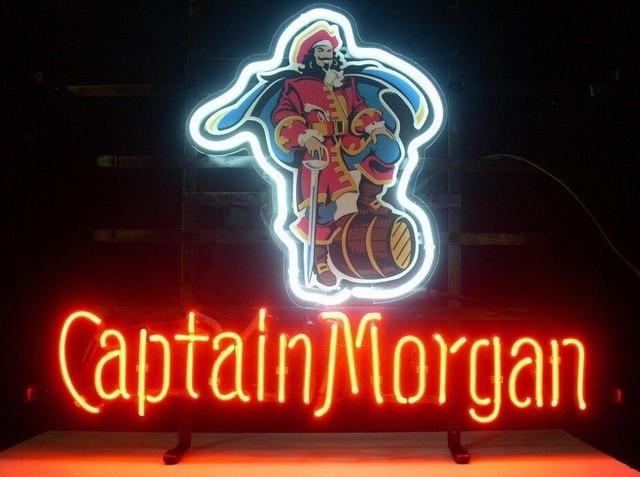 Custom Captain Morgan Pirate Whiskey Glass Neon Light Sign Beer Bar