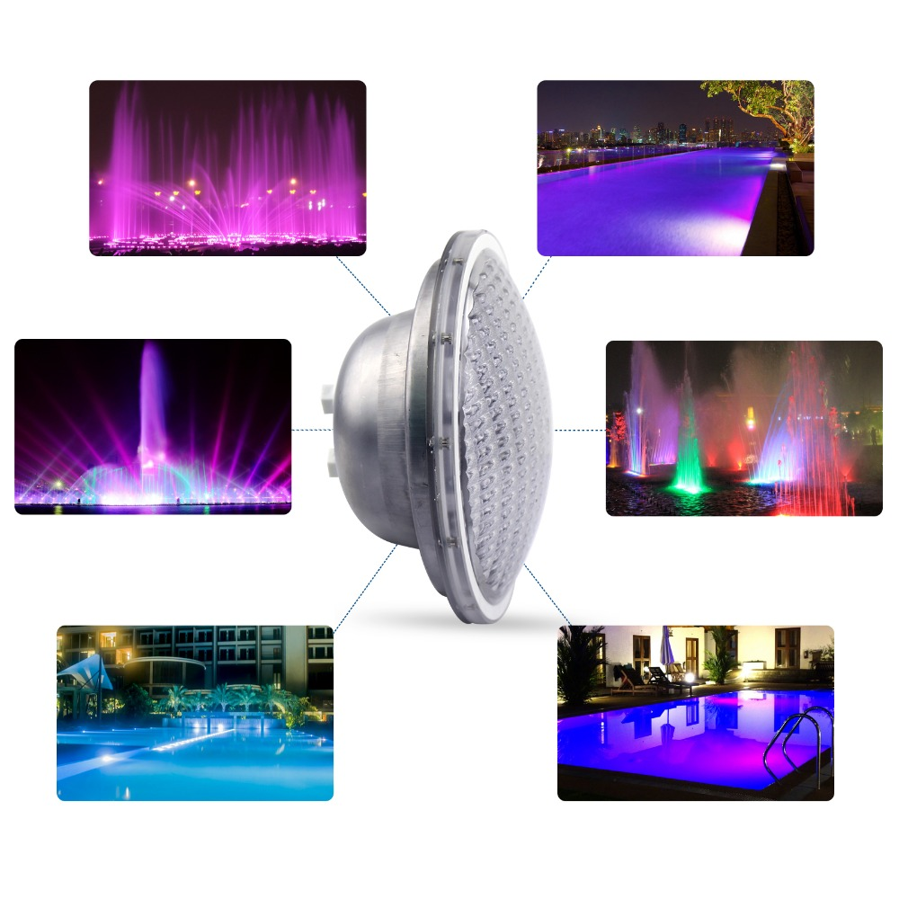 LED Swimming pool light underwater light Pond Submersible Stainless IP68 PAR56 72W(24*3W)RGB, AC12V/24V with remote control hot sale stainless steel pc remote control underwater light ip68 par56 72w rgb ac12v led swimming pool light safe in used