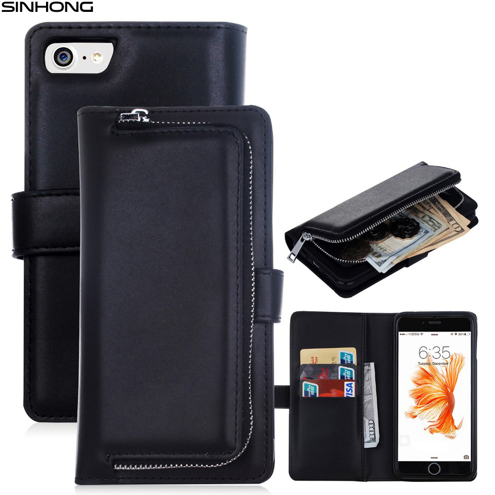 imágenes para Cremallera billetera de cuero de lujo del teléfono case para apple iphone 7 7 más tirón de la cubierta monedero desmontable cierre magnético del bolso del dinero